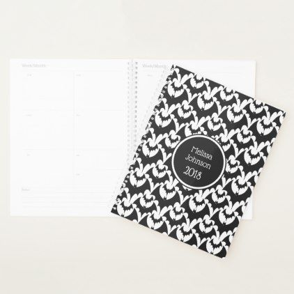 Black & White Bats Horror Pattern Name Personalize Planner - Halloween happyhalloween festival party holiday