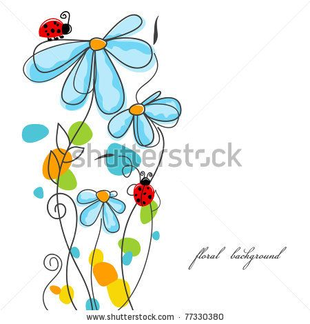 stock vector : Flowers and ladybugs love story