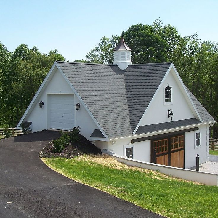 25 best ideas about barn garage on pinterest pole barn for Bank barn plans