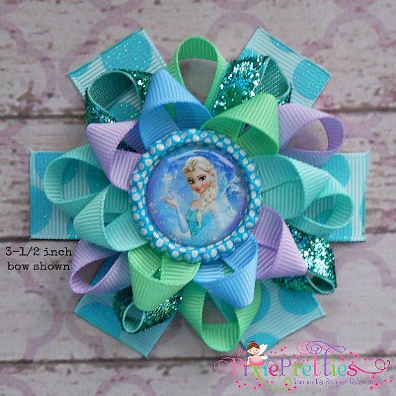 Frozen Elsa The Snow Queen Loopy Flower Hair Bow By