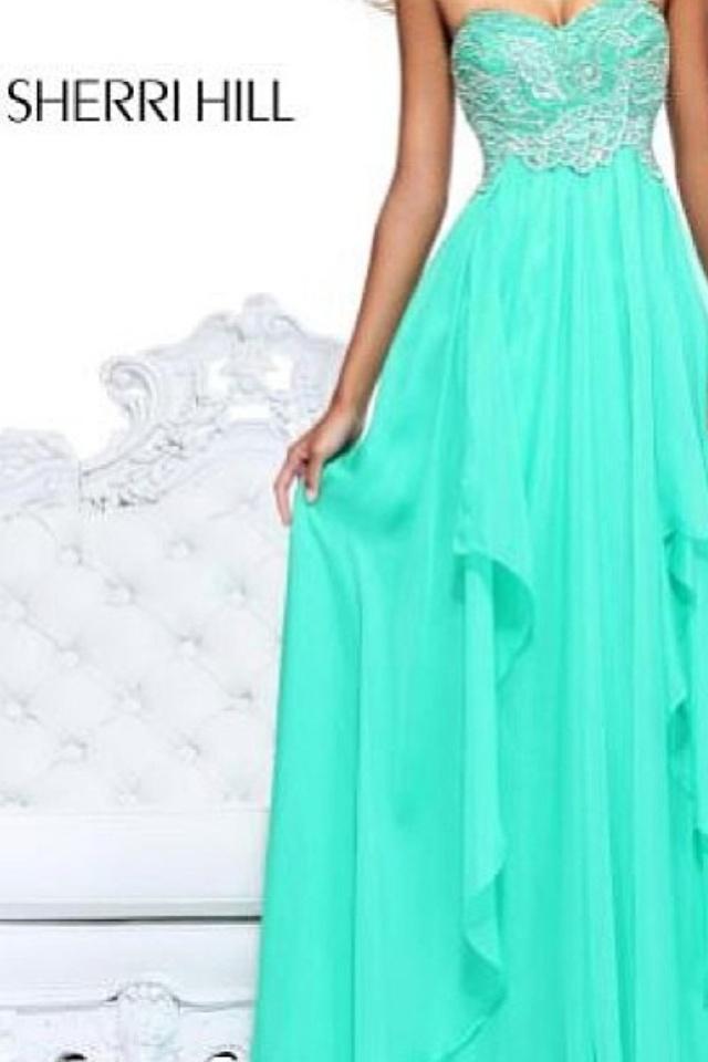 Long aqua blue Sherri Hill prom dress
