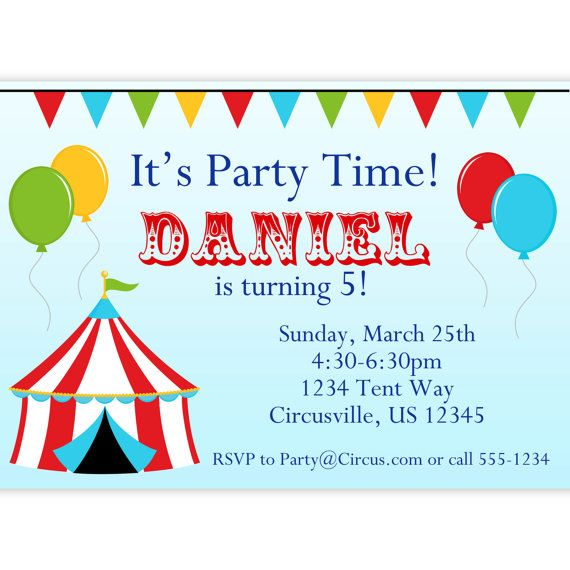 Circus Carnival Invitation - Red Big Top Tent, Balloons and Bunting Personalized Birthday Party Invite