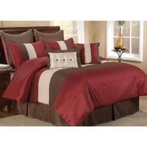 "8 pc modern red/ beige/ brown / bed in a bag /comforter set/ queen size bedding/90""x90"" comforter by Plush C Collection"