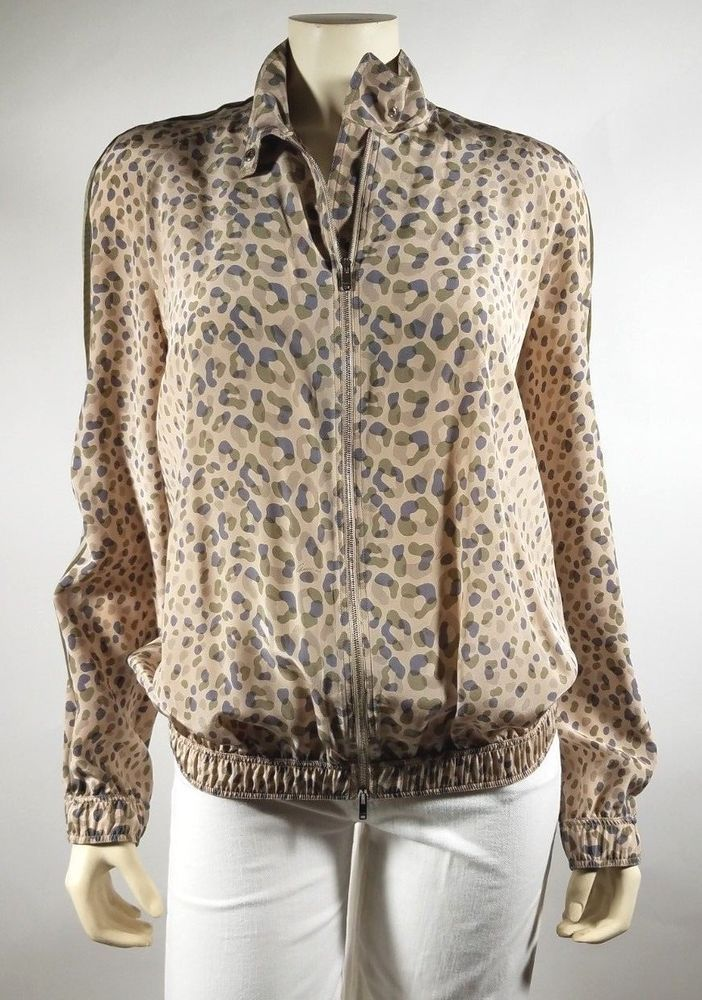 dac626beb67d3 GUCCI Beige Olive Animal Print Silk Zip Lightweight Jacket Top - size M   L   fashion  clothing  shoes  accessories  womensclothing  coatsjacketsvests  (ebay ...