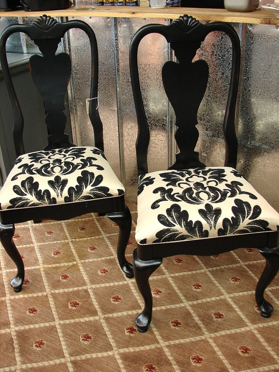 PAIR Designer Reclaimed Black Painted Drexel Accent Dining Kitchen Chair Chairs (Call for a ship quote). $169.95, via Etsy.