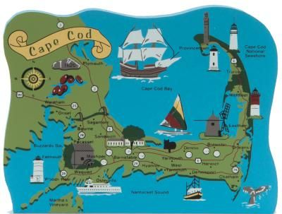 Map of Cape Cod, Nantucket, Cape Cod National Seashore, Plymouth, Falmouth, Martha's Vineyard / The Cat's Meow Village