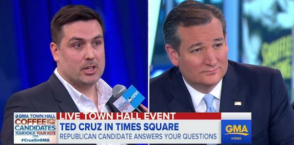 "Nope. Ted Cruz refused to shamelessly pander, and I applaud him for it. During ABC's ""Good Morning America"" town hall Monday, Todd Cologne, a New York pizza owner and ""lifelong"" gay Republican, asked Cruz how he plans to protect the gay community from ""institutionalized discrimination."" ABC Breaking News 