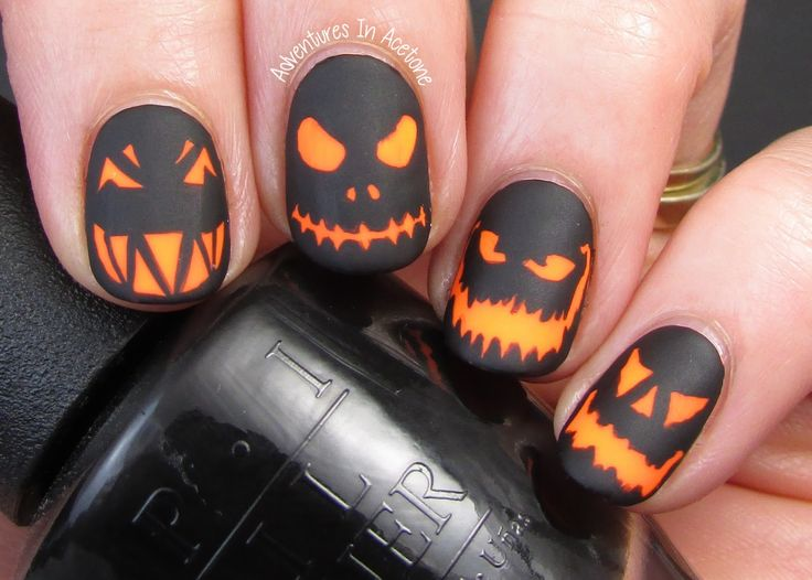Spooky glowing Jack O' Lanterns Nail Art, Halloween. - 69 Best Halloween Pumpkin Nail Art Images On Pinterest Halloween