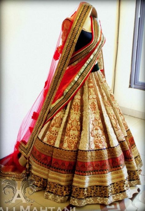 Beautiful Cream , Gold and Red Bridal lehenga www.bridesbypb.com