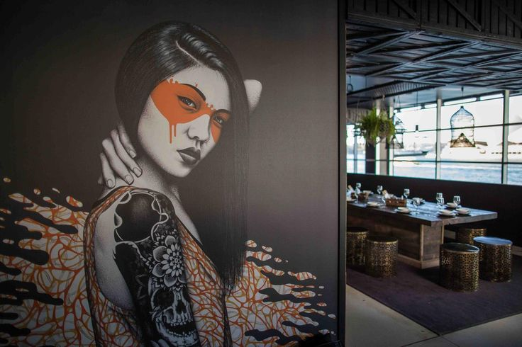 "Fin Dac's ""Kuuji"" at the entry of the Junk Lounge at Cruise Bar Sydney. Designed by Design Native."
