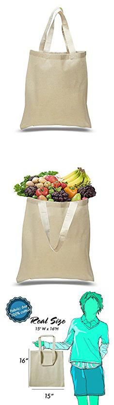 Bulk Tote Bags. BagzDepot Flat Bottom Cotton Reusable Plain Tote Bag with 21-Inch Handles, 15-Inch-by-16-Inch, Natural (12 Pack).  #bulk #tote #bags #bulktote #totebags