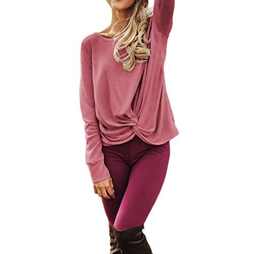 7ab1d533f35 Keliay Bargain Women's Casual Long Sleeve Solid T Shirts Twist Knot Tunics  Tops Blouses