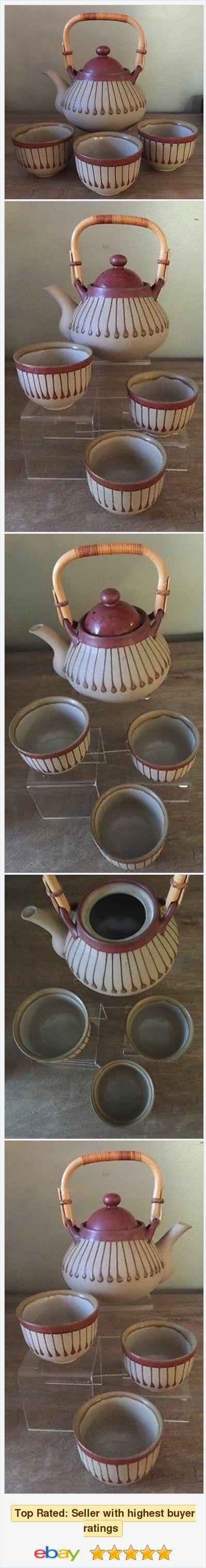 Japanese Takahashi San Franisco Teapot and Three Teacups Earth Tone Colors #eBay #StoreName e_babyji