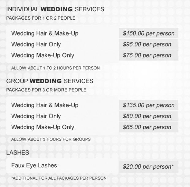 Wedding Hairstyle Price List In 2020 Wedding Hair And Makeup Wedding Hairstyles Bridal Hair And Makeup