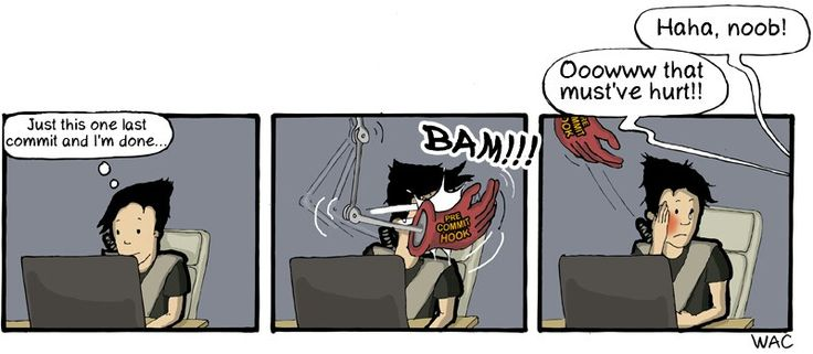 CommitStrip, Pre-Commit Hook IRL!