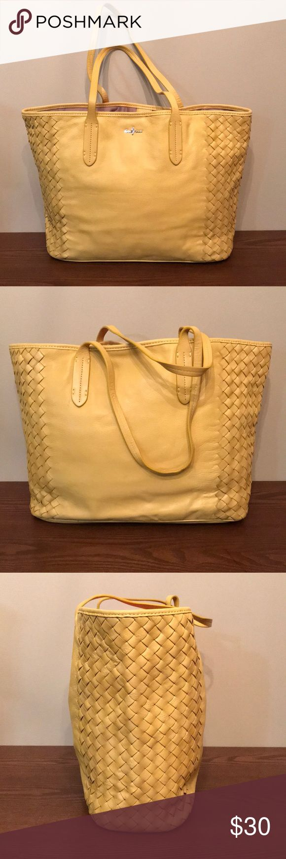 """Cole Haan leather woven tote Yellow soft leather with woven detail on the sides. Inside: 2 small pockets, 1 large zip pocket, key hook. Satin lining. 9"""" straps. Magnetic snap closure. 11"""" high x 18"""" wide x 5"""" deep. Minimal use, no visible wear. Dust bag included. Cole Haan Bags Totes"""