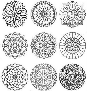mandalas - use printmaking technique on foam to have students press into clay. possibly make own mandala