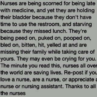 never thought of nurses that way.