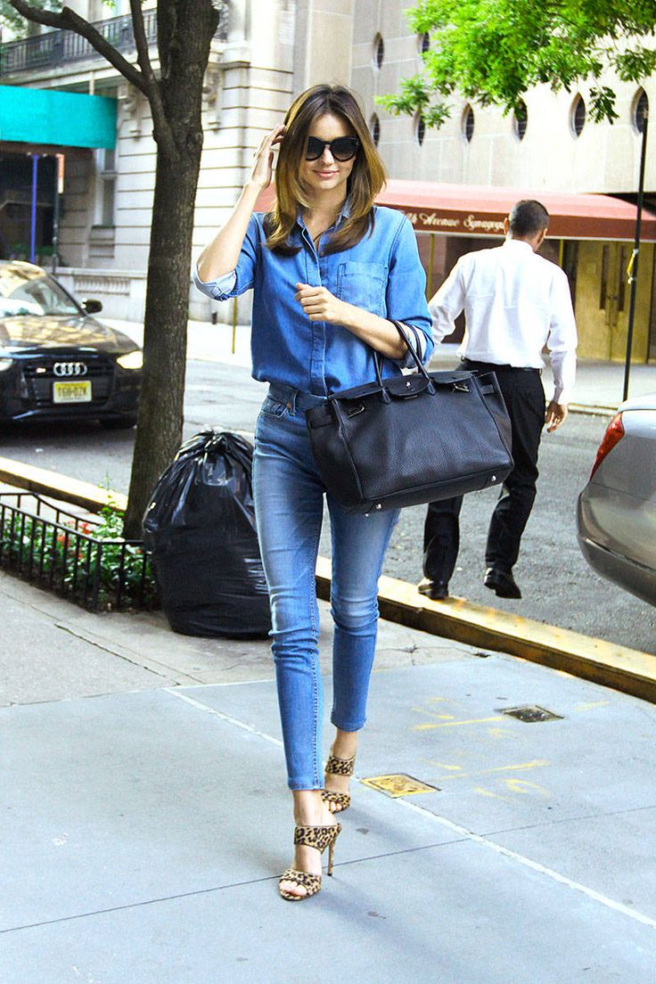 Miranda Kerr | demin, chambray, animal print pumps | Summer to Fall Street Style Photos - Celebrity Street Style Photos - Elle