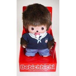 Bebichichi 16 cm jongen matroos. Baby monchichi met blauw shirt en blauwe broek.