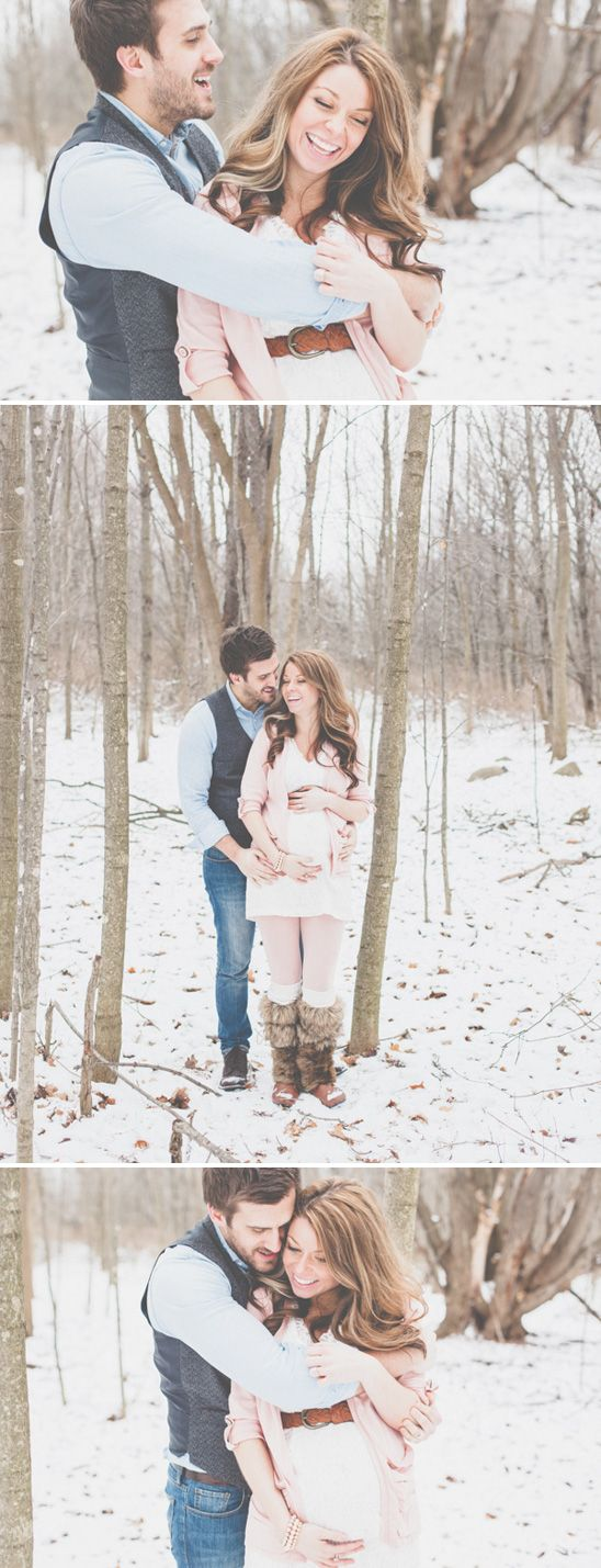 Winter maternity session in the snow, a couple differences in the outfit I'd wear though