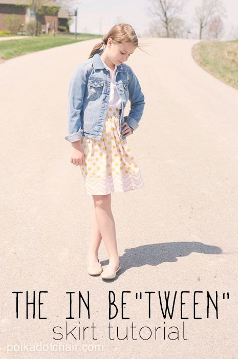 The in be tween skirt tutorial. A sewing pattern for tween clothing, A great option for tween girls clothing, DIY a skirt, sew a skirt, tween skirt