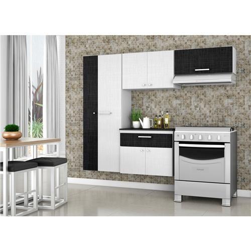 Cozinha Compacta Bartira Pérola Linho com 7 Portas e 1 Gaveta