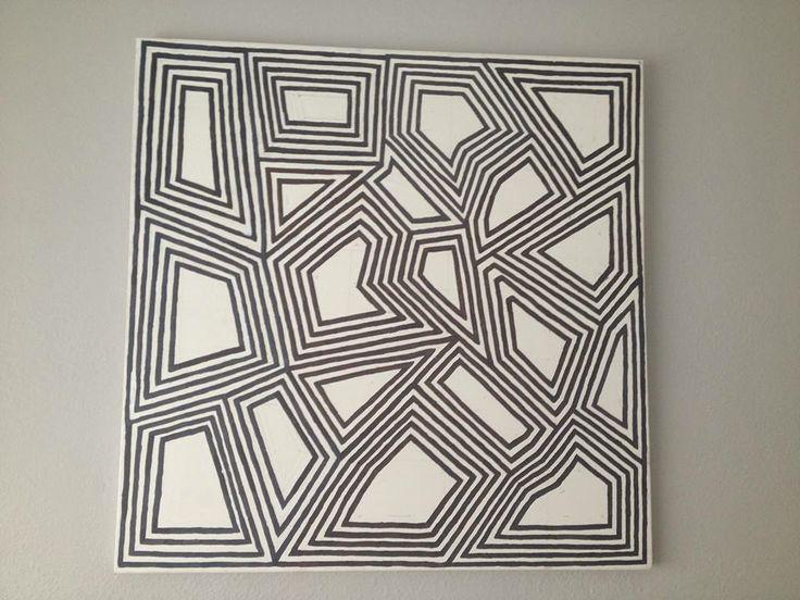 Geometric Abstract Art Painting (Daniela Kiss - Squared 101X101cm Acrylic on Canvas)