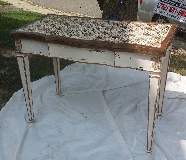 Attractive Refinished Vintage Leather Top Table   Distressed And Stenciled