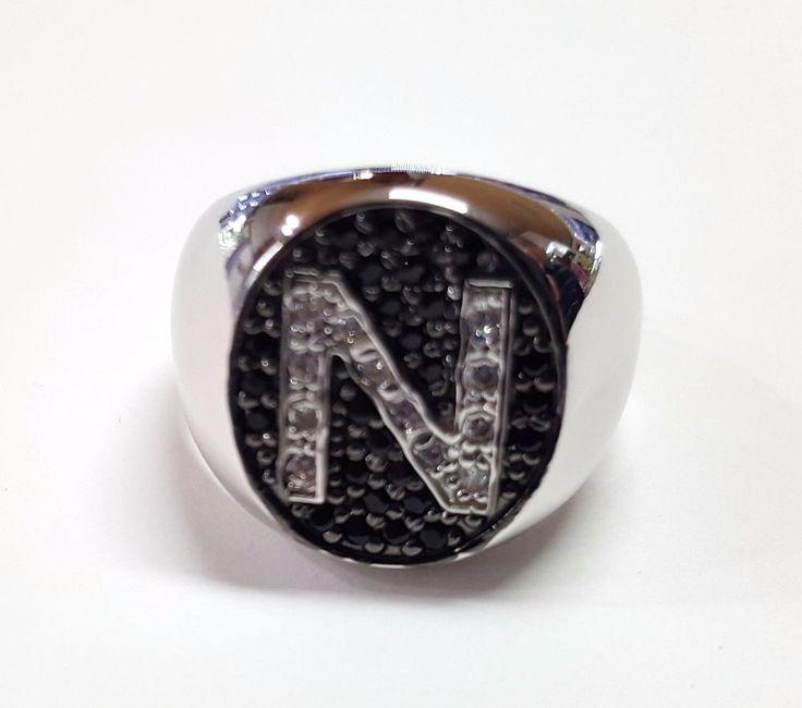 Anello Donna Think Positive regolabile con iniziale N in argento 925 e swarovski