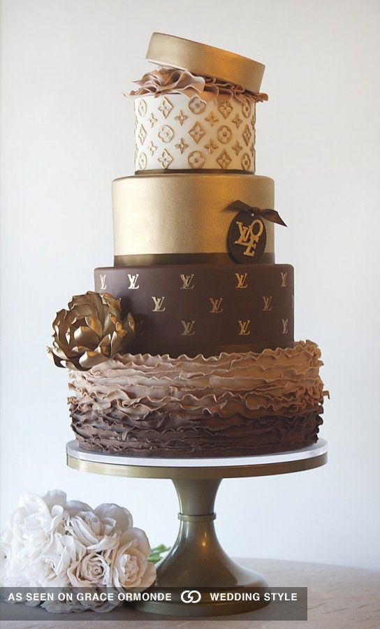 Chocolate and gold wedding cake inspired by French designer Louis Vuitton #graceormonde #weddingstyle #GOWS #weddingcake #dessert #couture #bride #weddinginspiration #luxuryweddings