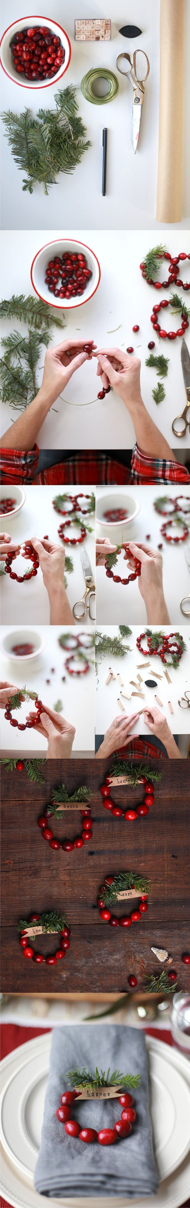 Decorar tu mesa en Navidad - sayyes.com - DIY mini Cranberry Wreath Place Cards
