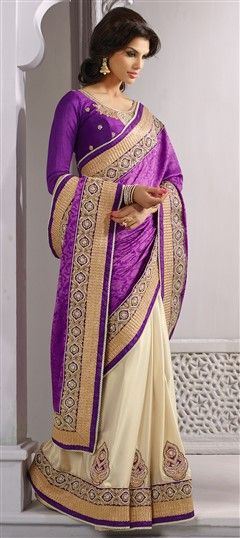 131981, Party Wear Sarees, Embroidered Sarees, Jacquard, Stone, Patch, Border, Purple and Violet, Beige and Brown Color Family