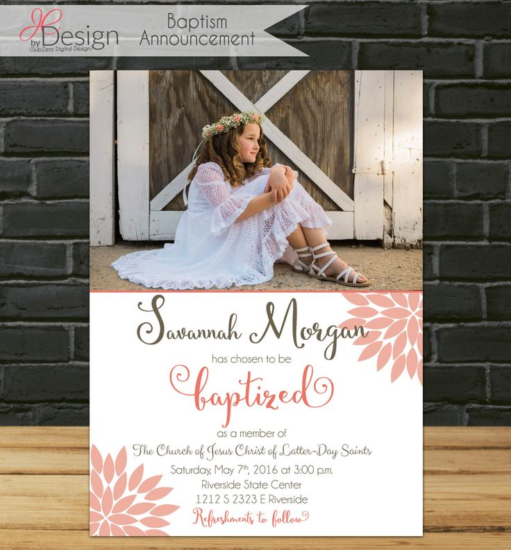 LDS baptism invitation girl baptism invitation printable