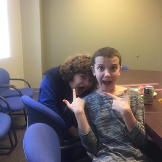 "Eleven and Dustin mucking about on their lunch break. | 27 Pictures Of The ""Stranger Things"" Cast Hanging Out And Being The Best Of Friends IRL"