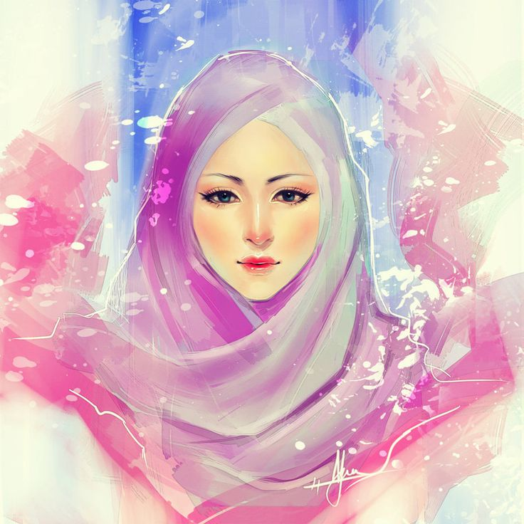 Blue, Violet, and Pink Hijab Drawing