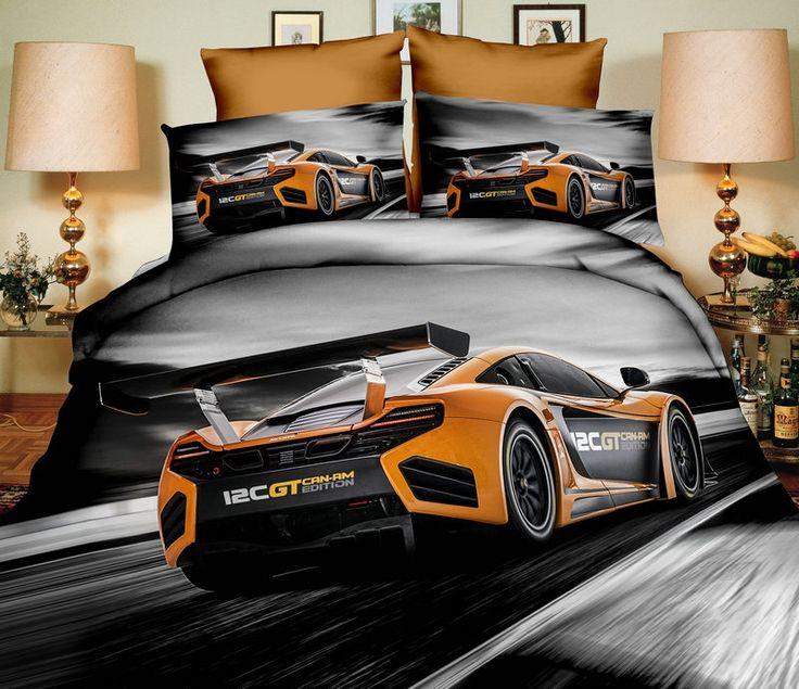 3D pościel szara na łóżko z modnym pomarańczowym samochodem