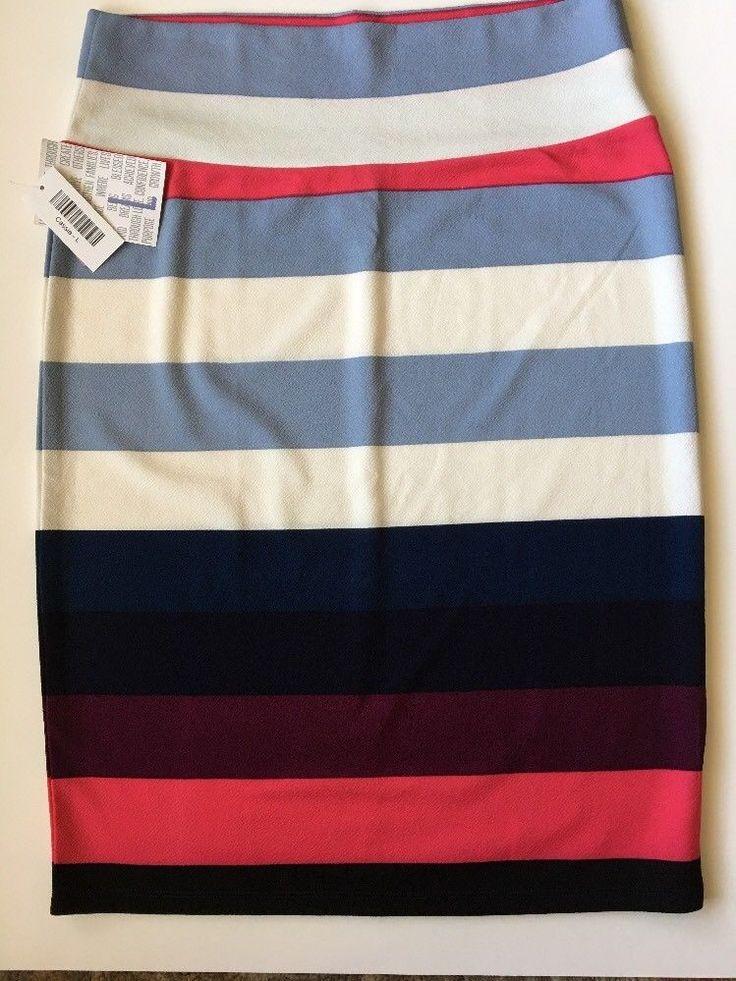 LLR Cassie Skirt Size Large 14-16 Striped Color Block White Pink Navy Black #LuLaRoe #StraightPencil #Work