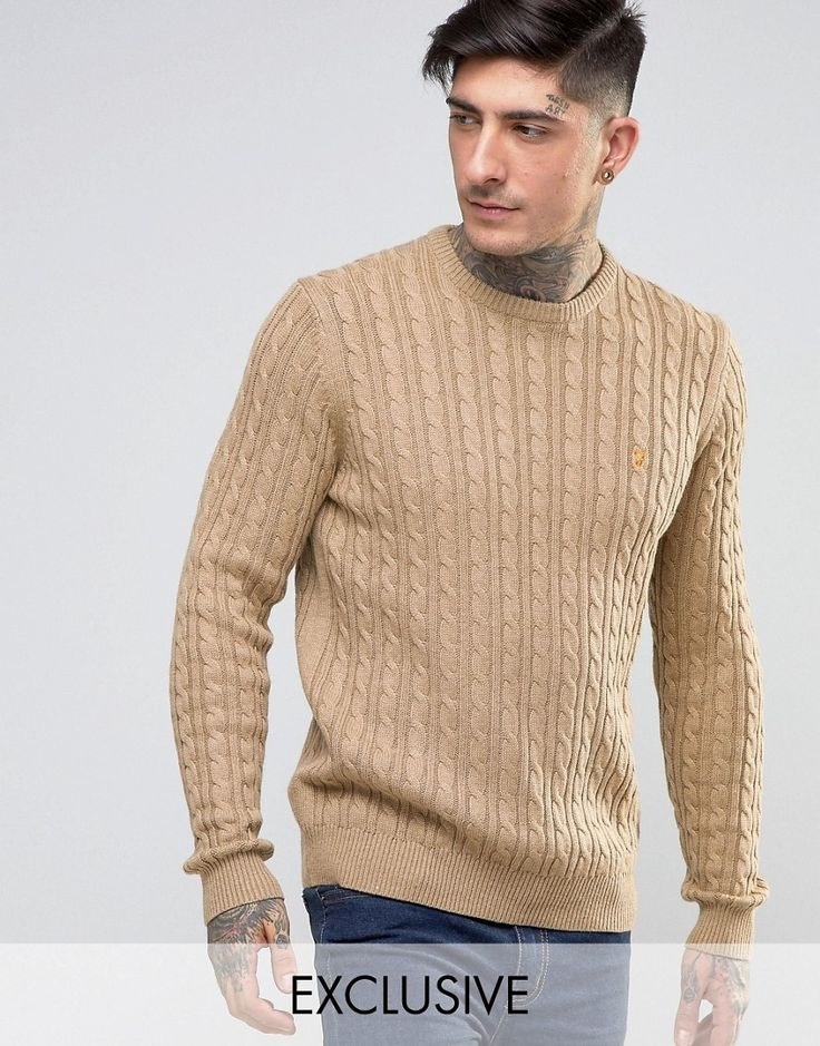 Get this Farah's knit pullover now! Click for more details. Worldwide shipping. Farah Jumper with Cable Knit Exclusive - Brown: Jumper by Farah, Wool-mix cable knit, Crew neck, Embroidered logo, Ribbed trims, Regular fit - true to size, Machine wash, 60% Cotton, 30% Polyamide, 10% Wool, Our model wears a size Medium and is 188cm/6'2 tall, Exclusive to ASOS. From their birth in the 1920s, Farah has been adopted by subcultures across the board; from Mods to Skins and Rockabillies. Renowned for…
