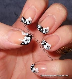 .White Flower, Nails Art, Nailart, Floral French, French Manicures, Konad M19, Flower Nails, Black White, French Tips