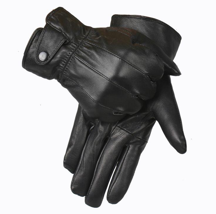 Genuine Leather Gloves Men Winter Glove High Quality Real Sheep Leather Mittens Men Genuine Sheepskin Gloves Winter YG015
