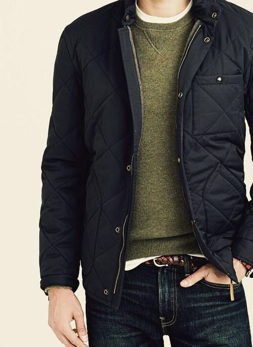 This combination of a black quilted bomber jacket and navy jeans is perfect for off-duty occasions. Shop this look for $143: http://lookastic.com/men/looks/crew-neck-t-shirt-crew-neck-sweater-bomber-jacket-belt-jeans/5625 — White Crew-neck T-shirt — Olive Crew-neck Sweater — Black Quilted Bomber Jacket — Dark Brown Woven Leather Belt — Navy Jeans
