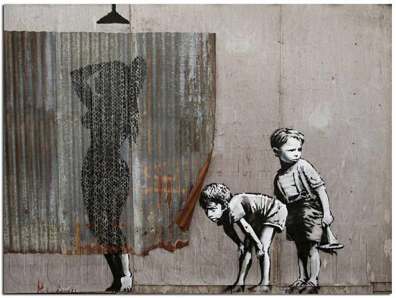 Woman Showering Dismaland Banksy Graffiti Underground Spray
