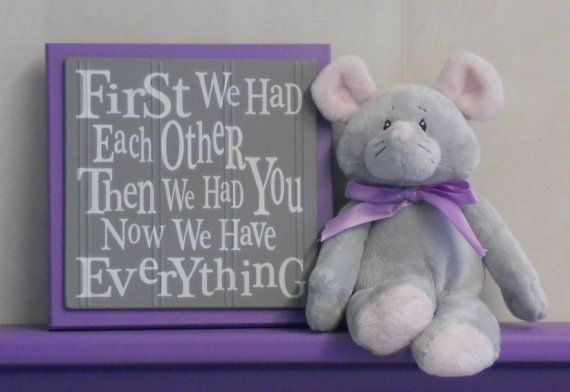 Purple and Gray Nursery Wall Decor Grey Wall Sign  by NelsonsGifts, $15.95