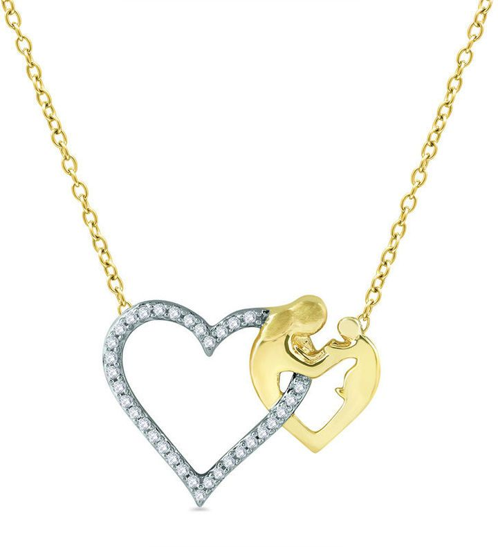 Zales 1/8 CT. T.w. Diamond Motherly Love Double Heart Pendant in Sterling Silver uYTi8hG