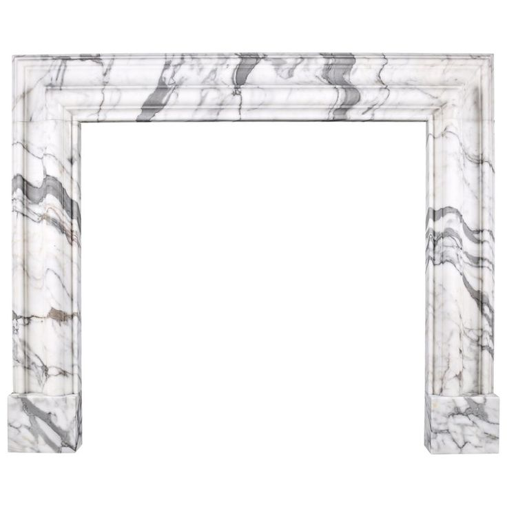 Baroque Bolection Fireplace Mantle in Italian White Statuary Marble 5