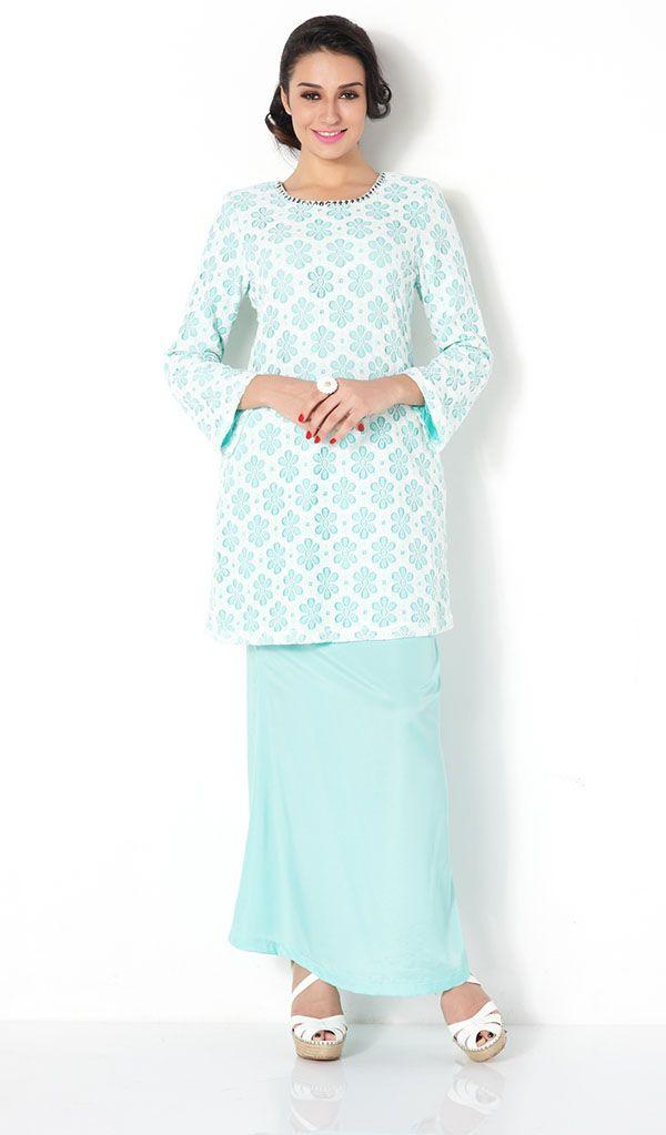 First Lady mix Floral Lace plain modern baju kurung