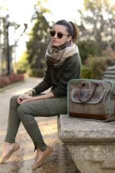 Fall outfit  olive skinnies + burberry