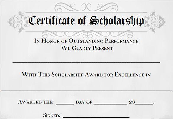 11 Scholarship Certificate Templates Free Printable Word