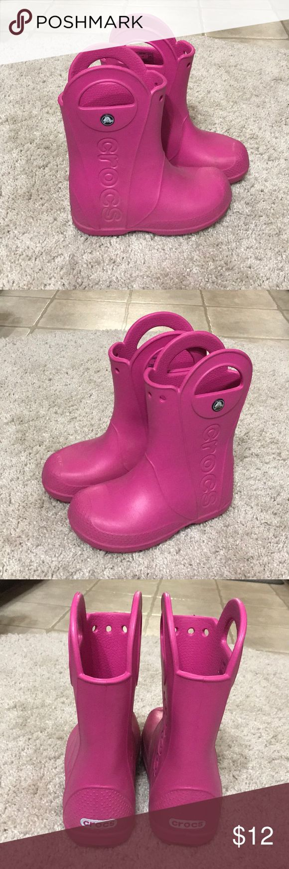Pink Crocs Rain Boots Only worn once!!! Great boots, very cute! CROCS Shoes Rain & Snow Boots